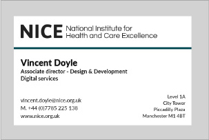 Image showing a good example of use of colour on a NICE business card