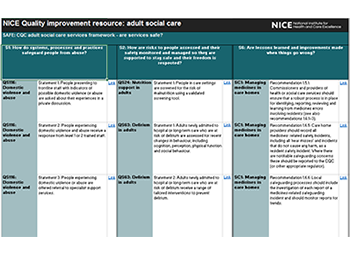 screenshot of quality improvement resources