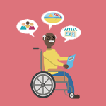 cartoon of an older gentleman in a wheelchair reading a guidebook