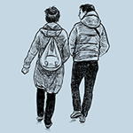 image of a young man and woman walking together