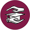 an image of hands above and below a mortar board hat