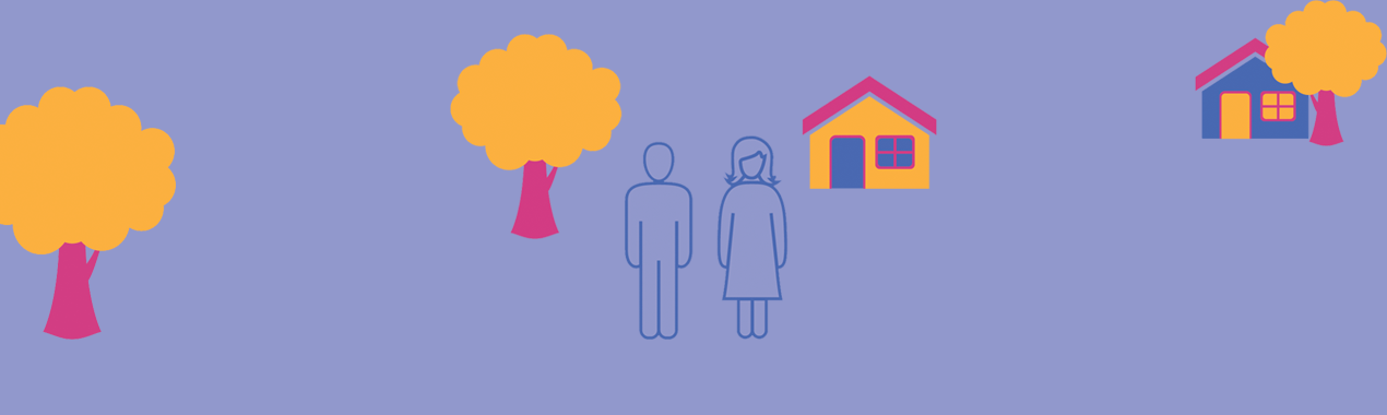 Illustration of two people outside a house.