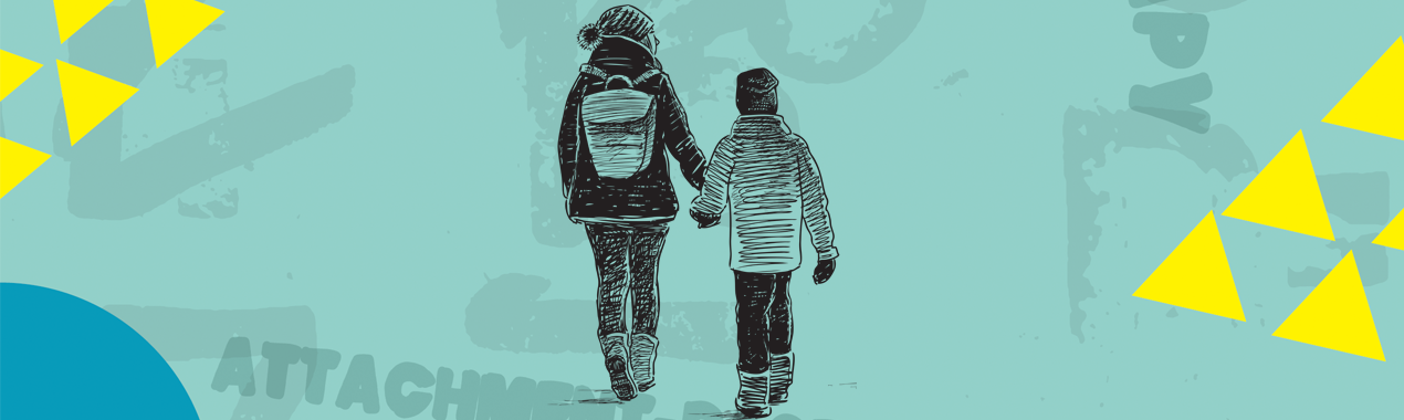 Graphic showing a child and young adult walking and holding hands.