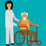 cartoon of a woman pushing an older man in a wheelchair
