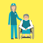 cartoon of a woman in a wheelchair talking to a nurse