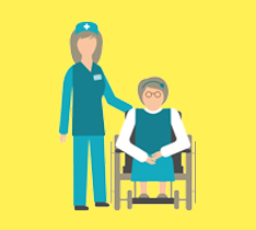 illustration of a nurse and a wheelchair user
