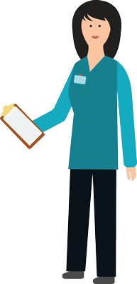 illustration of a nurse holding a clipboard