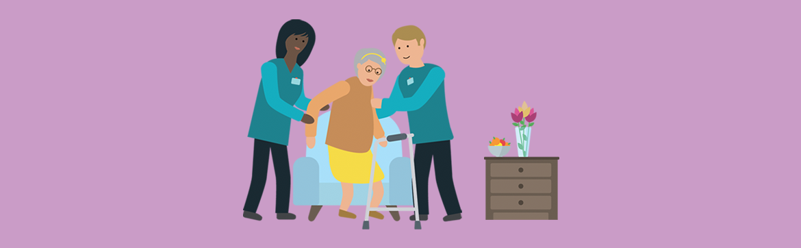 illustration of an older woman being helped out of a chair by two care workers