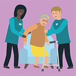 cartoon of two healthcare professions helping an older lady stand up from a chair