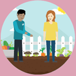 cartoon of a healthcare professional helping a woman tend to a garden