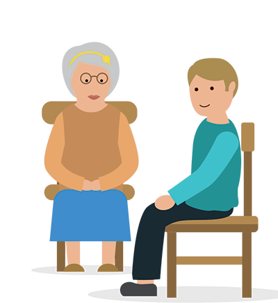 illustration of an older woman talking to a care worker