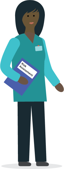 illustration of a care home worker holding a risk assessment form