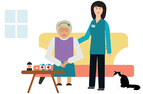 illustarion of an elderly woman with her carer in a home setting
