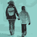 a mother and child walking and holding hands