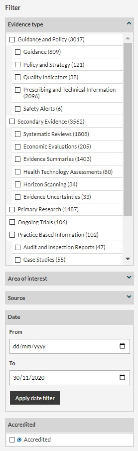 Filter options in NICE evidence search