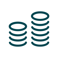 icon showing coins stacked on top of each other