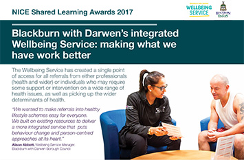 Blackburn with Darwen's integrated Wellbeing Service: making what we have work better poster
