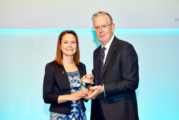 Anna Jewell – Head of Support and Information, Pancreatic Cancer UK recieving her award from NICE Chair David Haslam