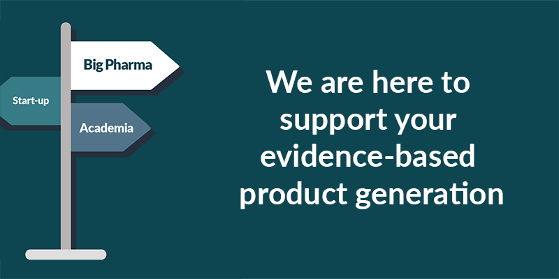 image showing signpost with text saying we are here to support your evidence-based product generation