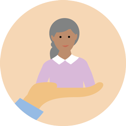 illustration of a person sat on the palm of a hand