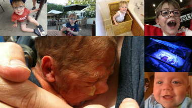 A collage of photos of Huck who was born 3 months premature.