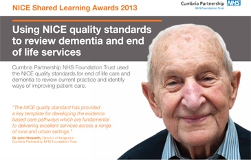 Using NICE quality standards to review dementia and end of life services poster