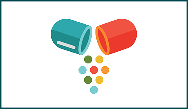 Illustration showing a pill split in half