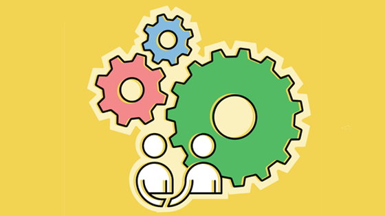 Illustration two people with three cogs in the background.