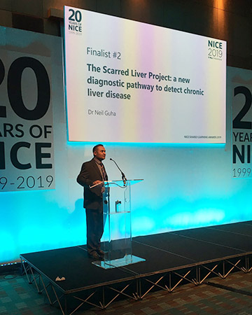 Shared Learning Award 2019 finalist Neil Guha, clinical associate professor in hepatology, Nottingham University Hospitals NHS Trust presenting his Shared Learning project at the NICE Conference 2019