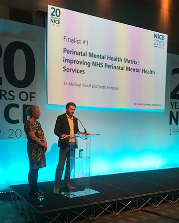 Shared Learning Award 2019 finalist Michael Yousif, consultant psychiatrist, Oxford University Hospitals NHS Foundation Trust and Sarah Fishburn, quality improvement lead for Thames Valley Strategic Clinical Network presenting their Shared Learning project at the NICE Conference 2019
